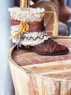 Decorated Cowboy Boots ALL SIZES Boho GYPSY Custom Made | Etsy Gypsy Boots, Vintage Levi Shorts, Dark Brown Boots, Shoe Size Conversion, Leather Fringe, Shabby Chic Style, Western Art, Boho Gypsy, Decor Crafts