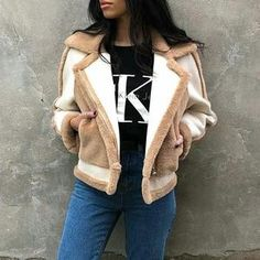 thick faux suede coat suede lined sheepskin faux aviator jacket oversized. Get till weekend Winter Coats Women, Coats For Women, Faux Fur Jacket, Fur Coat, Suede Coat, Color Beige, Blazer Fashion, Fashion Colours, Outerwear Women