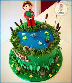 Fishing Cake 🐟 - cake by Cutsie Cupcakes