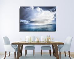 HUGE CANVAS Isle of Skye Photography - Clouds - Dramatic Snowstorm - 60 x 40 inches - Teal Blue and White Oversized Print - Extra Large
