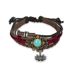 Bling Jewelry Braided Leather Zen Surf Bracelet Turquoise Color Bali Sunflower