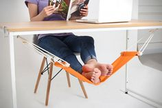 Propping your feet up during strenuous work hours will not require an extra chair anymore as long as you have the FUUT Desk Feet Hammock under the work table.