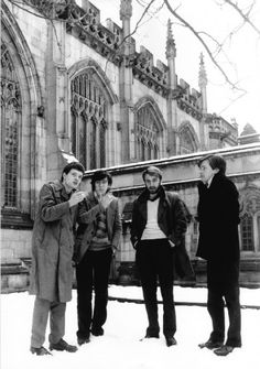 Joy Division (Ian Curtis, Peter Hook, Stephen Morris, and Bernard Sumner) at Kings College, Cambridge Joy Division, Kinds Of Music, Music Is Life, My Music, Ian Curtis, Christian Dior, King's College, The New Wave, Music Artwork