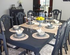 Color: Graphite, Annie Sloan Paint, changed an ugly dining table and chairs into a much nicer set at Loving Life blog.