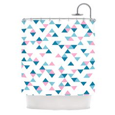 """Project M """"Triangles Pink"""" Blush Blue Shower Curtain"""