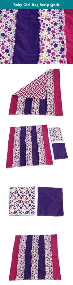 "Baby Girl Rag Strip Quilt. This adorable baby quilt is made of three layers of 100% cotton flannel! It will be a perfect gift for the new addition in your life! The strips are a rich purple, a hot pink, and pink purple and green flowers on a white backgrond. The back of the strips are hot pink chevron style. This quilt measures about 38'' x 41"" and comes with a coordinated burp cloth! The burp cloth is two layers of absorbent flannel, and measures about 12'' x 14.5''. This is a rag quilt..."
