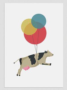 Illustration. Vache volante. Imprimer A4. Art par Tutticonfetti, €17.00