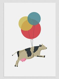 Illustration. Flying cow.  http://www.etsy.com/listing/93527647/illustration-flying-cow-print-a4-wall?ref=col_view