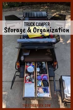 Staying organized in a tiny truck camper isn't easy! Check out this post for truck camper interior storage and organization ideas and tips - lots of photos too! Truck Camper, Truck Bed Camping, Tiny Camper, Small Campers, Go Camping, Camping Hacks, Slide On Campers, Pickup Camper, Truck Mods