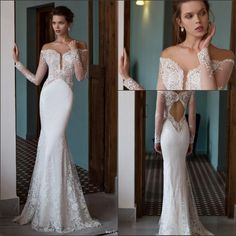 2016 New Lace Mermaid Wedding Dresses Off The Shoulder Long Sleeves Tulle Lace Applique Floor Length Hollow Bridal Gowns Dress For Wedding Maternity Wedding Dresses From Enjoyweddinglife, $137.4  Dhgate.Com