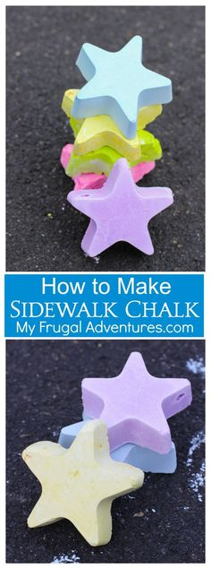 Simple 3 ingredient homemade sidewalk chalk.  Use any shape or size or color.  Fun summer craft with the kids.