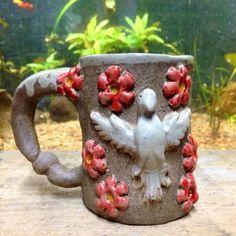 """Caneca """"Divino - Cerâmica - Escultura ceramic mug divine holy spirit sculpture"""