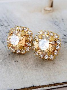 Champagne crystal stud earrings Bridesmaid by EldorTinaJewelry   http://etsy.me/1qdjlyY