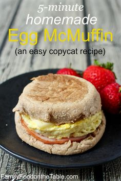 5-minute homemade egg McMuffin - with an easy microwave egg-in-ramekin trick | FamilyFoodontheTable.com