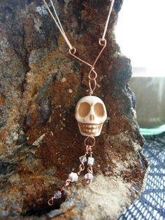 Neato! Copper Chandelier Skull Necklace by TheTeacupandStarCo on Etsy, $20.00