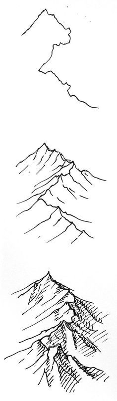 Interesting as it shows the process for creating this depiction of a mountain using simple lines and hatching.