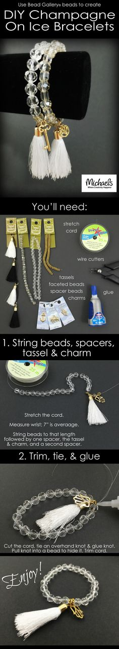 Use Bead Gallery beads to create DIY Champagne on Ice bracelets