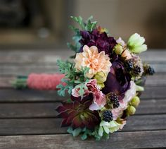 Plum, Eggplant and Peach Fall Wedding Rustic Bouquet with Peonies, Dahlias, Succulents and Dusty Miller. Perfect for a Backyard, Rustic or Vineyard Wedding. Peach Bouquet, Bridal Bouquet Fall, Silk Wedding Bouquets, Flower Bouquet Wedding, Autumn Wedding, Rustic Wedding, Wedding Ideas, Wedding Stuff, Burgundy Wedding