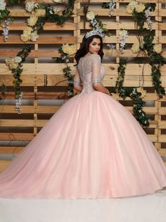 DaVinci Glitter Tulle Ball Gown with Sleeves - Victoria's Elegance Quinceañera & Bridal Tulle Balls, Tulle Ball Gown, Ball Gowns Prom, Sweet 16 Dresses, 15 Dresses, Wedding Dresses, Quince Dresses, Quinceanera Dresses, Quinceanera Ideas