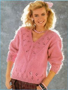 Lady/'s sweater jumper pullover Woman/'s knitting pattern in Pampos yarn.