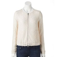 LC Lauren Conrad Lace Bomber Jacket in Marshmallow