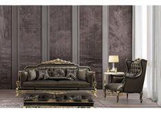 luxury mavro klasiko saloni me xryses leptomeries (11) Decor, Saloni, Oversized Mirror, Furniture, Home, Luxury, Home Decor