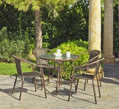 Salon de jardin en aluminium table URBAN + 2 Fauteuils AZURO Gris ...