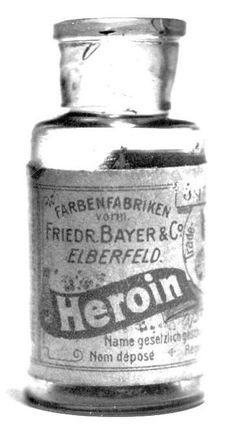 heroin: Highly addictive morphine derivative that makes up a large portion of the illicit traffic in narcotics. Heroin is made by treating morphine with acetic anhydride; Funny Vintage Ads, Vintage Humor, Vintage Advertisements, Vintage Images, Old Medicine Bottles, Old Bottles, Vintage Bottles, Vintage Medical, Vintage Packaging