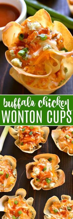 These Buffalo Chicken Wonton Cups are the PERFECT little bites! Loaded with all the classic flavors of buffalo chicken, they're crunchy, creamy, spicy, and SO delicious....perfect for game day, parties, or just because!