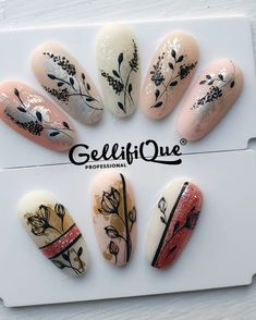 Gel Nail Polish, Gel Nails, Acrylic Nails, Gel Manicure Designs, Nail Art Designs, Rose Nails, Flower Nails, Accent Nails, Butterfly Flowers