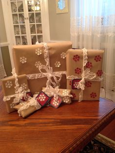 Homemade gift wrapping and tags