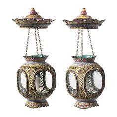 A FINE AND RARE PAIR OF LATE 18TH CENTURY CANTON ENAMEL LANTERNS