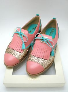 Croon pink, turquoise and gold glitter #oxfords #shoes
