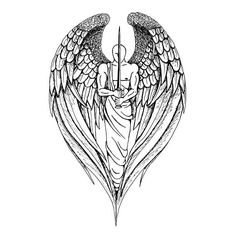 A great tattoo design of an angel warrior with a sword.