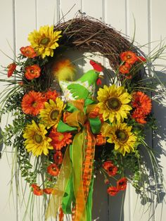 Spring Wreath, Summer Wreath,  Door Wreath, Floral Wreath, Brightly colored Spring Rooster and florals