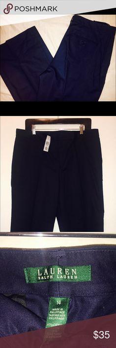 "Navy Blue Dress Pants New with tags !! Retail sale price $70. Length 41 1/2"", waist 18"" Lauren Ralph Lauren Pants"