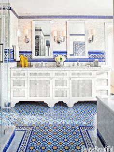 blue yellow wall tiles design designs with amazing morrocan tile messagenote moroccan bathroom design wall decor moroccan decor ideas blue stairs plaid floor typical tile Bathroom Tile Designs, Bathroom Colors, Colorful Bathroom, Bathroom Ideas, Tiled Bathrooms, Washroom Tiles, Bathroom Inspiration, Modern Bathroom, Spanish Bathroom