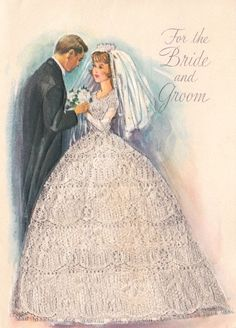 Bride and Groom Wedding Congratulations Vintage Greeting Card-Used-Beautiful Vintage Wedding Cards, Vintage Valentine Cards, Vintage Greeting Cards, Vintage Bridal, Vintage Postcards, Vintage Weddings, Beautiful Bride Images, Wedding Illustration, Wedding Congratulations