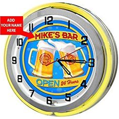 """Home Bar Personalized 18"""" Yellow Double Neon Clock from Redeye Laserworks"""