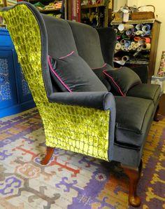 Side view of Velvet Eccentric-designed Parker Knoll chair, re-upholstered in slutty lime alligator velvet around the back & restrained charcoal velvet upfront