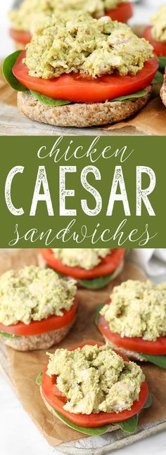 Healthy Chicken Caesar Sandwiches are simple to make, requiring just 5 minutes prep and basic ingredients. A few simple swaps eliminate fat and calories without sacrificing traditional caesar flavor. via Sissom Healthy Lunches For Work, Healthy Snack Options, Healthy Family Meals, Healthy Eating, Work Lunches, Healthy Food, Clean Recipes, Easy Dinner Recipes, Whole Food Recipes