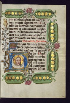 Illuminated Manuscript, Van Alphen Hours, Initial H with the Sudarium with the face of Christ, Walters Manuscript W.782, fol. 58r by Walters Art Museum Illuminated Manuscripts, via Flickr