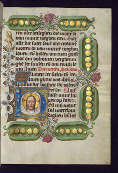 Illuminated Manuscript, Van Alphen Hours, Initial H with the Sudarium with the face of Christ, Walters Manuscript W.782, fol. 58r by Walters Art Museum Illuminated Manuscripts, via Flickr. Golden peas!