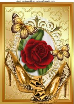 GOLD SPARKLE SHOES WITH RED ROSE A4 on Craftsuprint - Add To Basket!