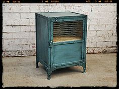 This vintage industrial locker, bedside or side table is a standout furniture piece. Holy Funk offers cheap shipping to Melbourne, Sydney, Brisbane & Adelaide Industrial Lockers, Industrial Storage, Vintage Industrial Furniture, Industrial Chic, Funky Painted Furniture, Retro Furniture, Furniture Decor, Furniture Online, Bedside Lockers