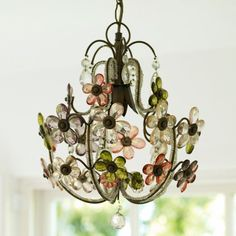 Vintage Flower Chandelier -  Beautiful vintage-style chandelier with antiqued bronze frame and sparkling crystal cut flowers in vintage shades of pink, green and smoke.  D 40cm H 30cm  Supplied with chain and ceiling rose. Recommended wattage 60w  £240.00 GBP