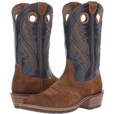 Ariat Heritage Roughstock Venttek (Antique Mocha Suede/Pacific) Cowboy... ($190) ❤ liked on Polyvore featuring men's fashion, men's shoes, men's boots, mens square toe boots, mens square toe cowboy boots, mens suede cowboy boots, mens suede western boots and ariat mens shoes