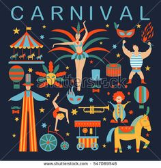 Vector collection with carnival,circus, fun fair, vector icons and background and illustration Colored icons collection. Place for your text. Carnival concept.
