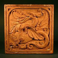 20th Century wooden carved Dragon Tile