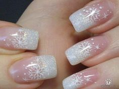 Dressy delicate snowflakes with subtle glitter -- nice! For other frosty ideas, follow the LINK: http://fashion2obsession.blogspot.com/2012/11/winter-nail-designs.html